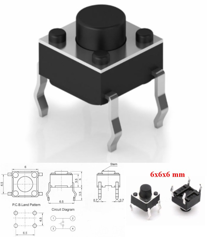 6x6x6mm 4Pin Tactile Switch momentary push button