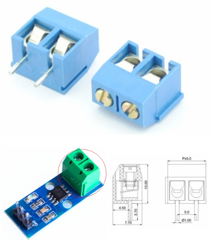 2pins 5.08mm Blue Terminal block connector
