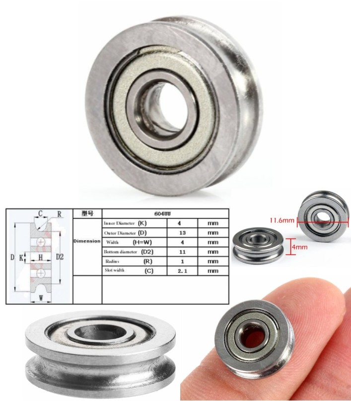 U604ZZ Rolling U-Wheel Guide bearing Groove 3D CNC