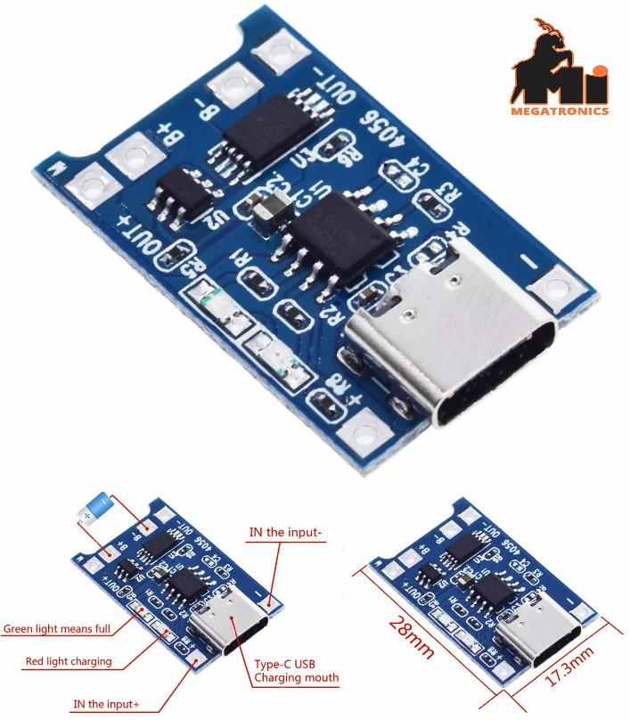 TP4056 Type-C USB Li-ion 18650 Battery Charger 5V