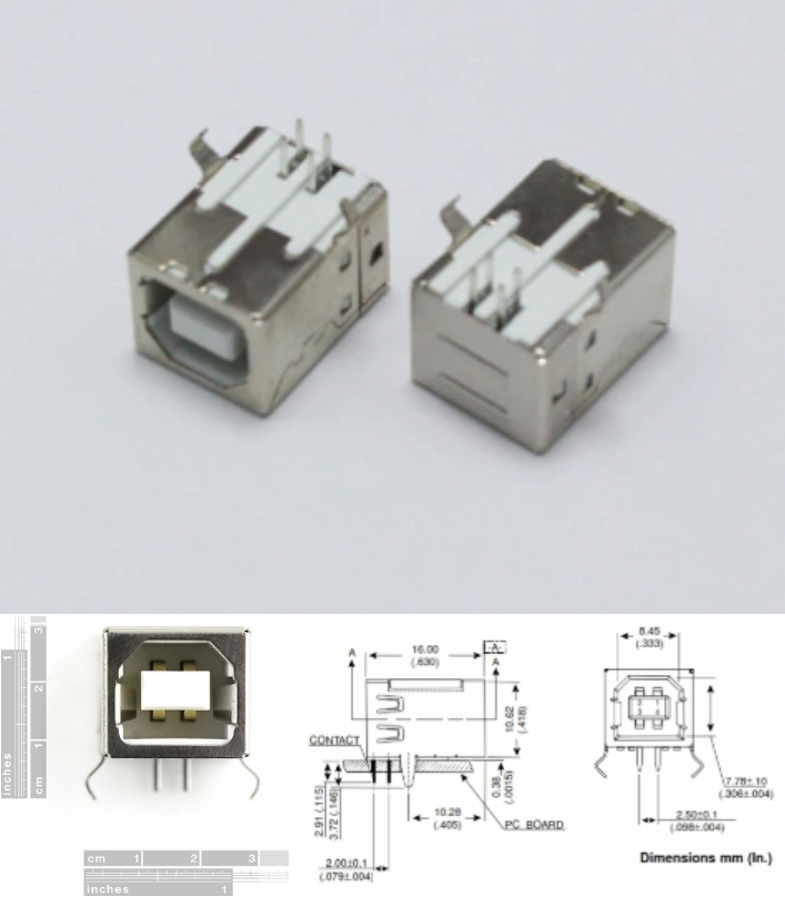 USB Female Type B Connector Arduino 4-Pin PCB Jack