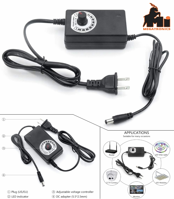 AC220 Adjustable DC 3V-12V 1A universal adapter regulated power supply charger