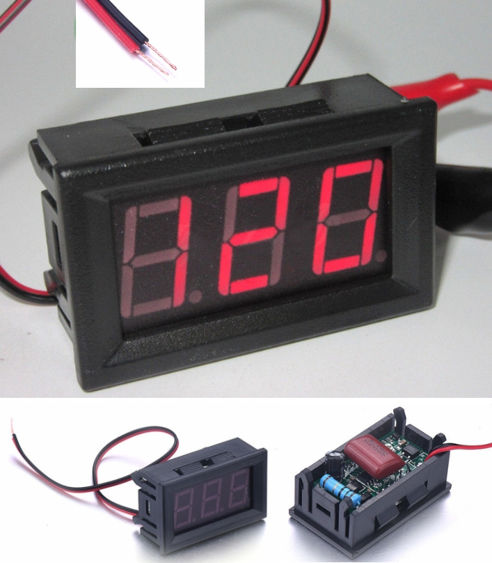 Voltmeter AC 70-500V 2 Wire Red LED Pane Display V