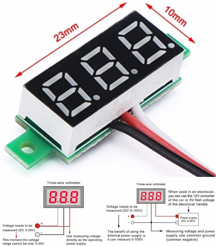 LED DC 0-100V Digital Voltmeter Panel voltage