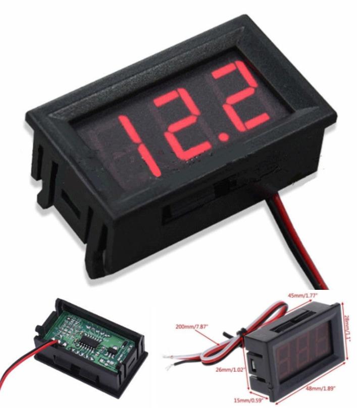 DC 5-30V digital voltmeter display 3 wires