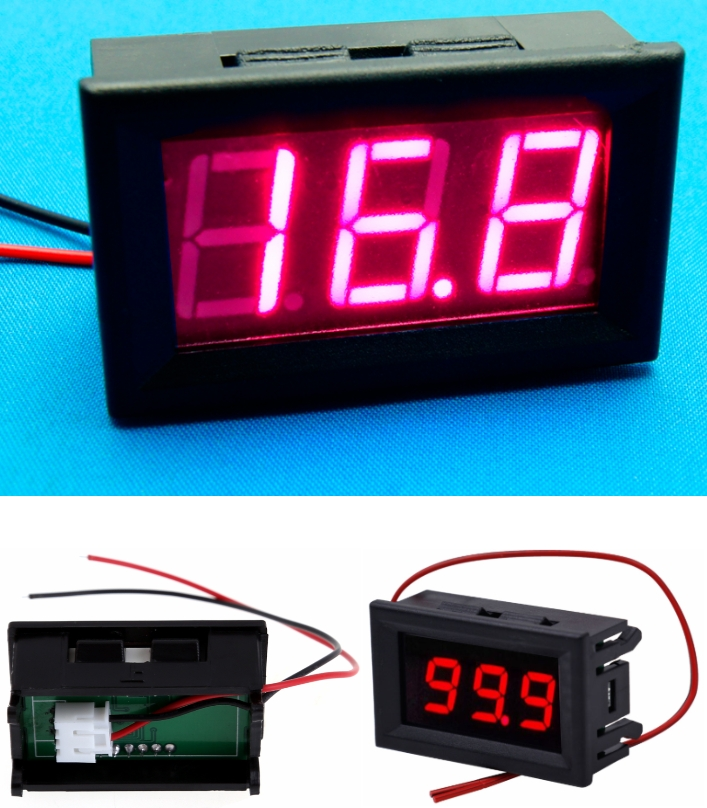 Red DC Voltmeter 5-120V LCD display  Panel Meter