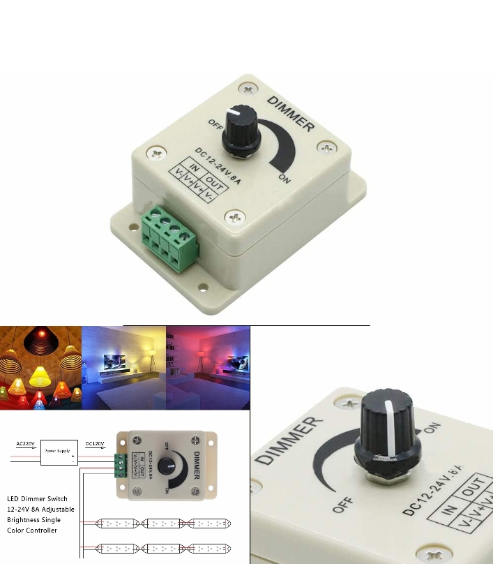 12-24V 8A LED light Knob Dimmer Controller Knob Fo