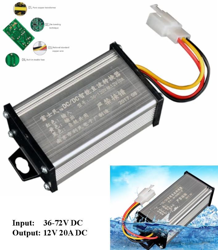 36V/48V/60V/64V/72V To 12V 20A DC Converter Adapte