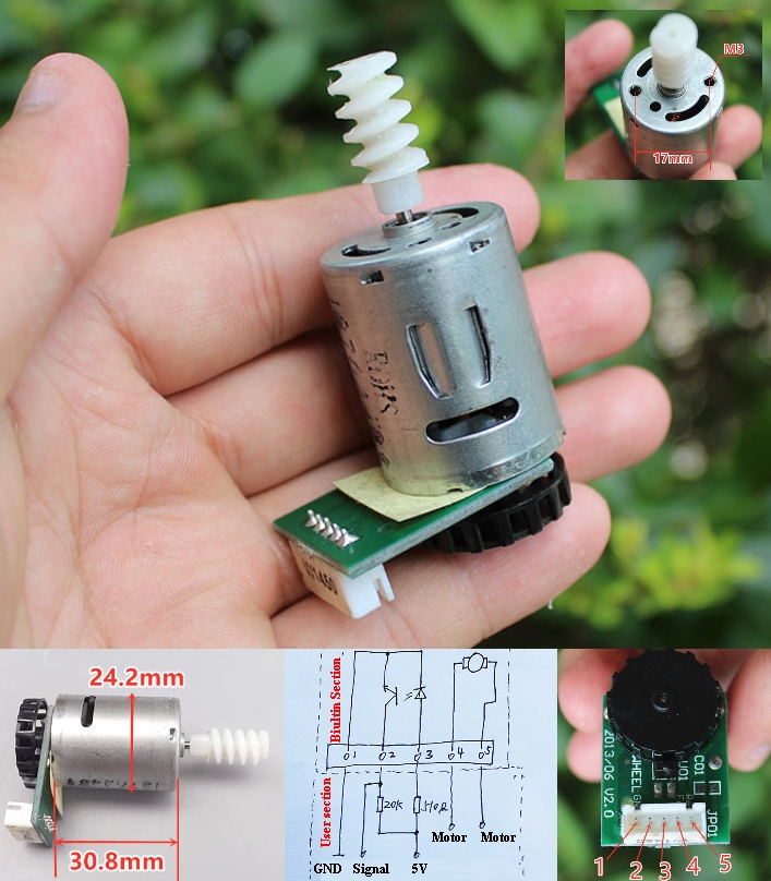 5V Encoder motor with worm gear 370 DC wheel encod