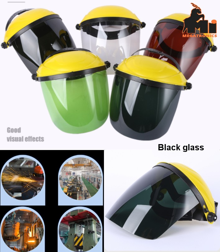 head-mounted black glass welding protective mask c