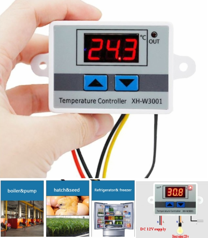 W3001 Digital LED Temperature Controller 12V DC 10