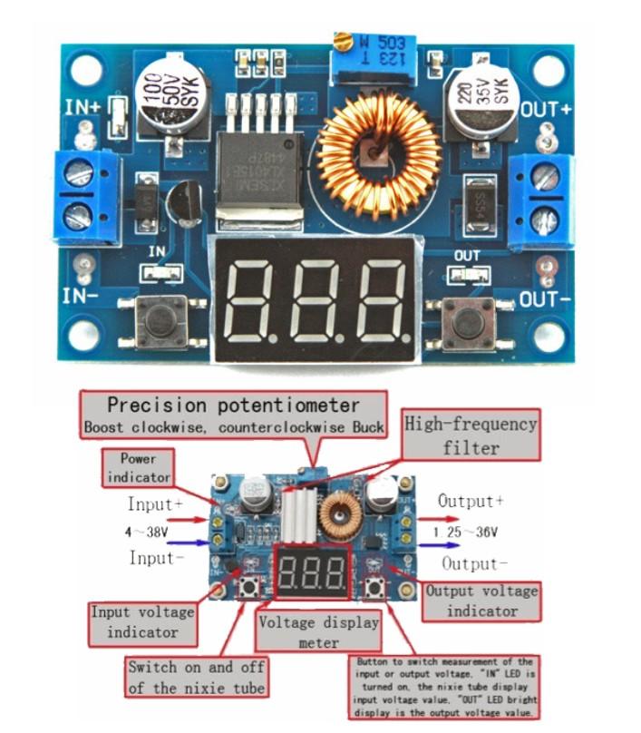 XL4015 5A DC StepDown Buck supply Module Voltmeter