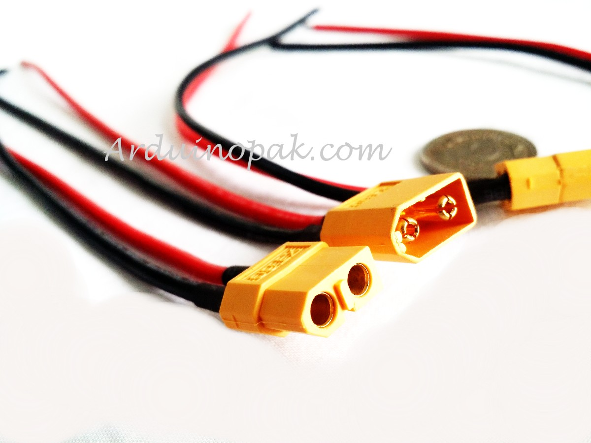 XT60 MF pair Pigtail 100mm 10cm 12AWG Silicone Wir