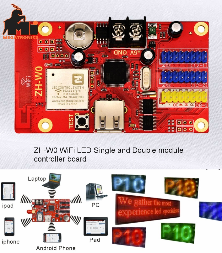 ZH-W0 WIFI single double color p10 rgb display led