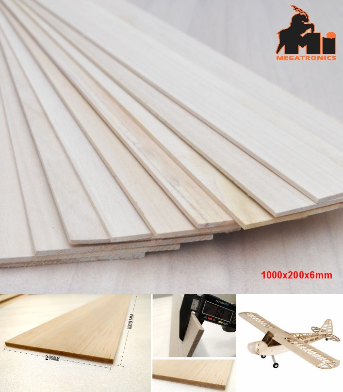 1000x200x6mm Balsa Wood Sheet Block for aircraft